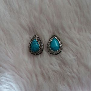 Vintage Inspired Turquoise Teardrop Earrings